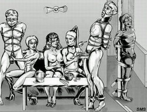 Domme Having Fun: The Tie Men Up Club